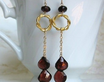 Garnet Drop Earrings- Gold Filled, Twisted Rings