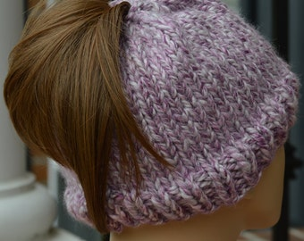 Knitted Ponytail Beanie - Knit Ponytail Beanie Mauve - Knit Ponytail Hat