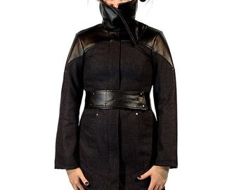 ON SALE SALE: Phoenix, highly tailored avantgarde winter coat with asymmetrical neckline by Plastik wrap.