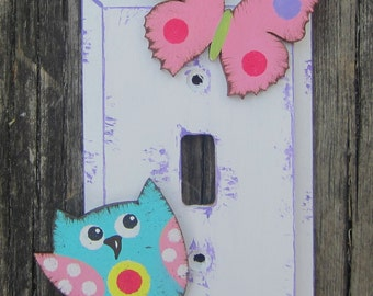 OWL & BUTTERFLY Girls Switch Plate Cover - Hand Painted Wood