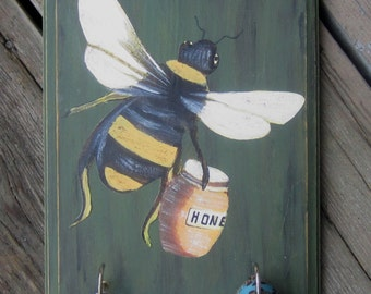 Key Holder & Pet leash Holder - HONEY BEE - Original Hand Painted Wood
