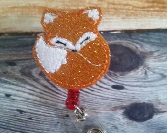Fox Badge Reel - Retractable ID Badge Holder - name badge holder - retractable reel - cute badge reel - animal badge reel - badge clip