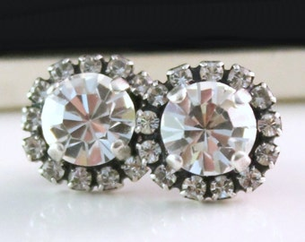 Brilliant Swarovski Crystals Framed with Clear Halo Crystals on Antique Silver Post Earrings, Customize your colors