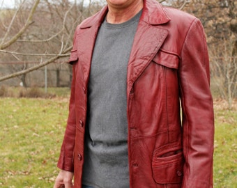 Vintage 1970s Men's Oxblood Red Leather Disco Jacket, 40, Golden Collection by Raffaelo