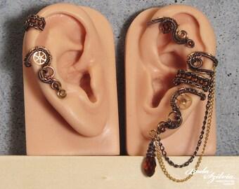 STEAMPUNK EAR WRAP and cartilage ear cuff set - brass ear cuff, adjustable ear cuff, no piercing ear wrap, copper steampunk jewelry