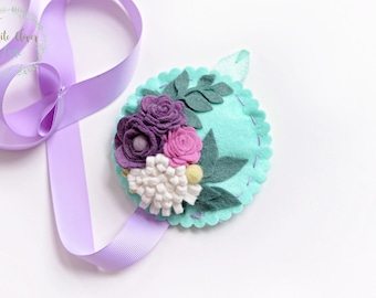 Floral Hair Bow Holder - Felt flowers - mint purple lavender - Girls room decor nursery