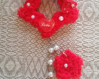 2-Way Red Star Love Fuzzy Shooting Star Barrette/Pin