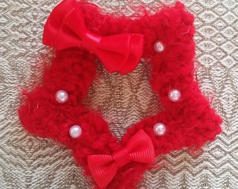 2-Way Red Fuzzy Star Barrette and Pin Combo