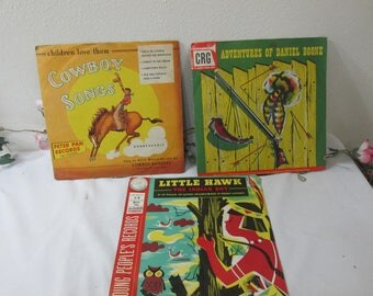 Records Children Set of 3 Cowboy Songs, Little Hawk, Adventures of Daniel Boone