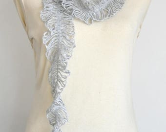 Feather and Rose - Gray - Crochet Rose Ruffle Scarf