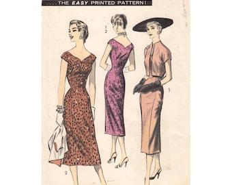 1950s Molded Sheath Dress Pattern Crop Jacket Advance 8007 Bust 36 Wide Neck Wiggle Dress Bolero Jacket Vintage Womens Sewing Pattern UNCUT