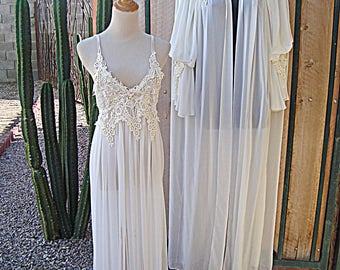 Vintage Jonquil by Diane Samandi 2 Piece BELINDA Peignoir Set White with Lace Pearls Appliques Size S