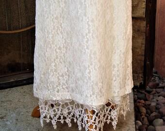 Vintage Full Length Ivory Lace Petticoat Half Slip or Skirt Contrast Lace Hem Size S/M
