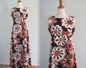 Pretty 60s Black Floral Cotton Maxi Dress - Vintage Long Hawaiian Sundress - Vintage 1960s Dress M L AS IS
