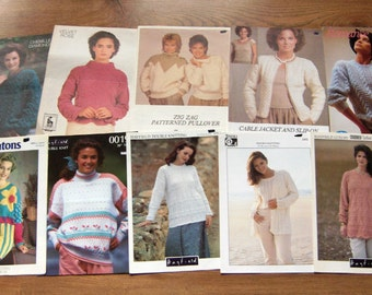 set of 10 vintage knitting patterns women