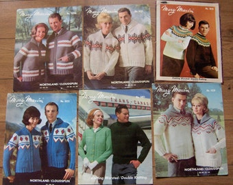 set of 6 vintage large knitting patterns mary maxim adult men women children sweaters