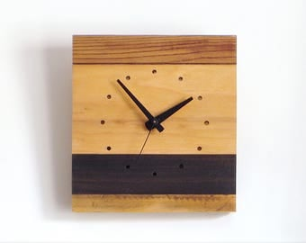WOOD WALL CLOCK> Square Small Reclaimed Fir Blackwood Stripes Limited Edition—Father's Day Wedding Graduation—Horloge Bois/Reloj Madera Eco
