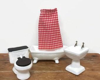 Dollhouse Bathroom Set - Miniature Toilet, Bathtub, Sink - White, Ceramic