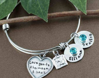 Personalized Hand Stamped Bangle Bracelet, Gift for Mom. Love you to the moon and back, Silver Moon and Star Bracelet, Moon and Star Jewelry