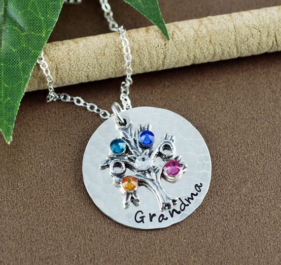 Hand Stamped Jewelry - Tree of Life Jewelry, Family Tree Jewelry with Birthstones - Grandmother Necklace - Mommy Necklace - Gift for Grandma