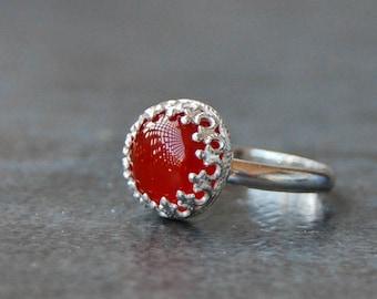 Rings, Carnelian Ring, Red Orange Carnelian, Silver Ring, Sterling Silver Ring, Carnelian Silver Ring, Made to Order