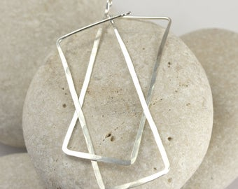 Long Silver Rectangle Earrings, Hammered Sterling Silver hoops from the Ophelia Collection