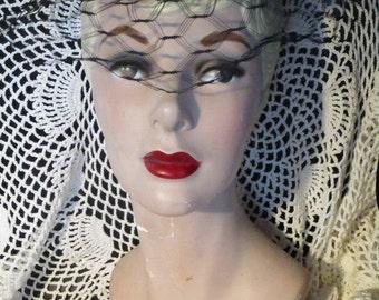 Women's Pillbox Fur Hat with Flawless Black Netting 1950's Hat