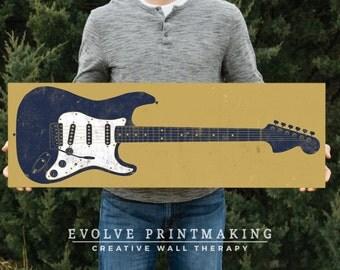 Electric Guitar Art on Wood Panel - Print on Wood - Custom Colors Available - Boys Room Decor - Guitar Gift - Music Art - Guitar Print #2