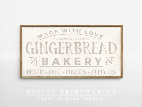 Gingerbread Bakery Print in Cream - Holiday Decor Bakery Sign Kitchen Wall Art - Country Home Decor