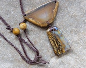 Boulder opal, Agate pendant necklace - handmade in Australia - earthy natural stone jewelry - magical gem stone jewellery