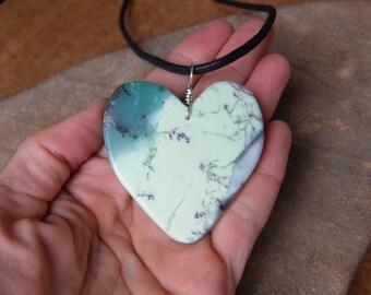 Large Chrysoprase heart pendant necklace -  green gem stone heart necklace - unique Australian Chrysoprase jewellery