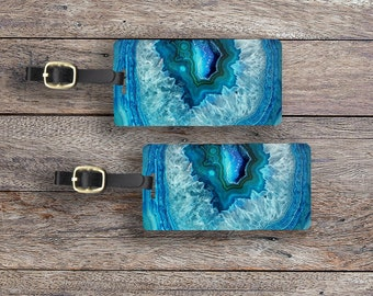 Luggage Tags Geode Set,  Personalized Metal Tags, 2 Tags Custom information on Backs Choice of Straps Version 3