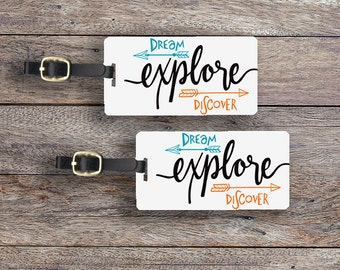 Luggage Tag Set Dream Explore Discover Boho Metal Luggage Tag Set With Printed Custom Info On Back, 2 Tags Choice of Straps