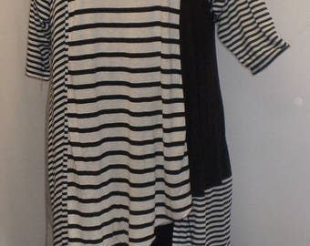 Coco and Juan, Plus Size Tunic, Asymmetrical Tunic Top, Gray, Black, White, Multi Stripe Knit, #3 Size 2 (fits 3X,4X)  Bust 60 inches