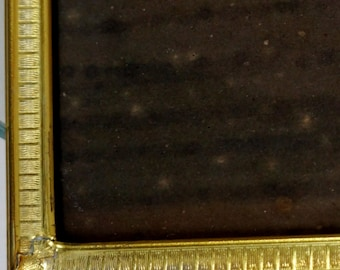 Vintage Picture Frame Metal Gold Finish Double Bi Fold Hinged Bars and Squares 8 x 10 1950s