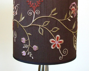 Lamp shade drum brown embroidered fabric washer top