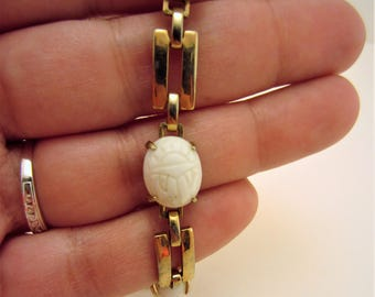 Scarab bracelet. Vintage scarab bracelet. Vintage jewelry. Gold bracelet. White scarab jewelry. Egyptian jewelry. Gift for her.