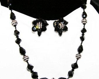 Vendome Black Glass Bead and Rondel Demi Parure