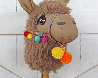 "Llama Ride-On Toy Stick Horse ""Cocoa"" Brown Toddler Size Ready to Ship"