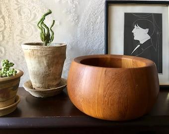 Vintage Dansk IHQ Teak Wood Bowl Wooden Quistgaard Salad Denmark
