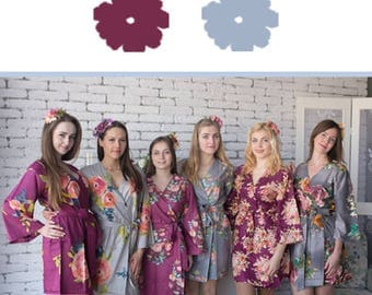 Plum and Gray Wedding Color Bridesmaids Robes - Premium Rayon Fabric - Wider Belt and Lapels - Wider Kimono sleeves