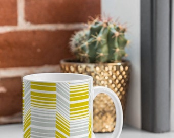 Geometric Coffee Mug // Ceramic Coffee Cup // Tea Cup // Kitchen Drinkware // Home Decor // Delineate Design // Retro Modern Style // Yellow