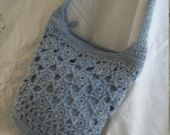 1920s Style Crochet Reticule Purse and Matching Coin Purse Cornflower Blue One Size Very Pretty