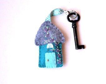 Wool Felt House Key Chain in aqua, teal, gray and blue with lavender and green floral Embroidered Floral and Beaded Embellishments, 3x2""