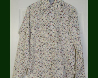Vintage 1960's 1970's Men's Floral Long Sleeved Dress shirt