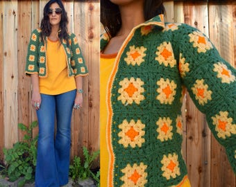 Vintage 70s CROCHET AFGHAN GRANNY Square Sweater Xs S