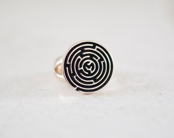 Brass Maze Ring, Brass Labyrinth Ring, Signet Ring, Unisex Ring, Men's Ring, Puzzle Ring, Handmade Jewelry by Prairieoats