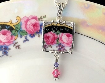 Broken China Jewelry - pendant necklace - antique pink roses with forget me nots and crystal beads lustreware