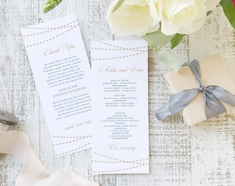 Instant Printable Wedding Program Template | INSTANT DOWNLOAD | Lights | Flat Tea Length | Editable Colors | Mac or PC | Word & Pages