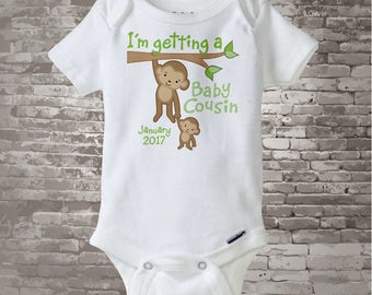 Personalized I'm getting a Baby Cousin Neutral Tee Shirt or Onesie with Due Date of Baby Cousin 09182012a